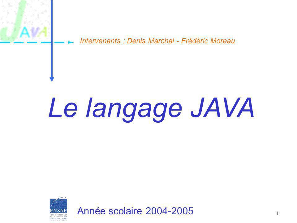 12 Le JDK Le JDK = Java Development Kit –Ancienne version : 1.0.2 –Version actuelle : 1.2 Il contient : –Un ensemble de classes de base regroupées en packages Interface utilisateur, conteneurs, gestion des threads, réseau… –Des exécutables : machine virtuelle, compilateur… –Des bibliothèques permettant de coupler du Java et du C Peut être téléchargé sur http://www.javasoft.com/ Il est gratuit Introduction à Java