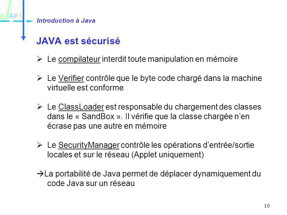 10 JAVA est sécurisé Le compilateur interdit toute manipulation en mémoire Le Verifier contrôle que le byte code chargé dans la machine virtuelle est