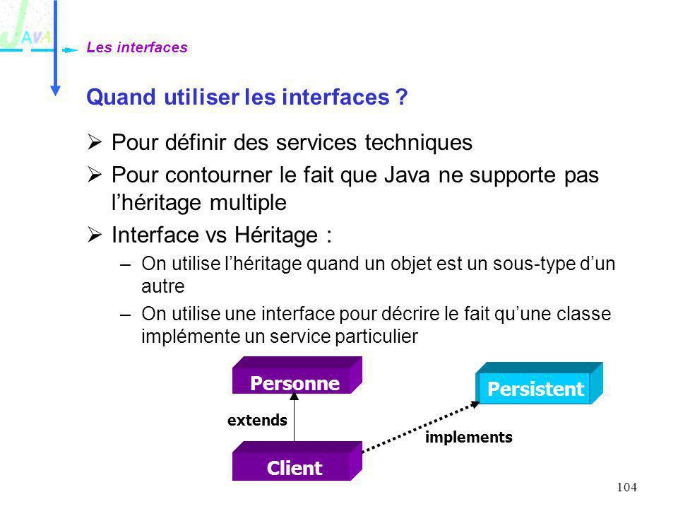 104 Quand utiliser les interfaces ? Pour définir des services techniques Pour contourner le fait que Java ne supporte pas lhéritage multiple Interface