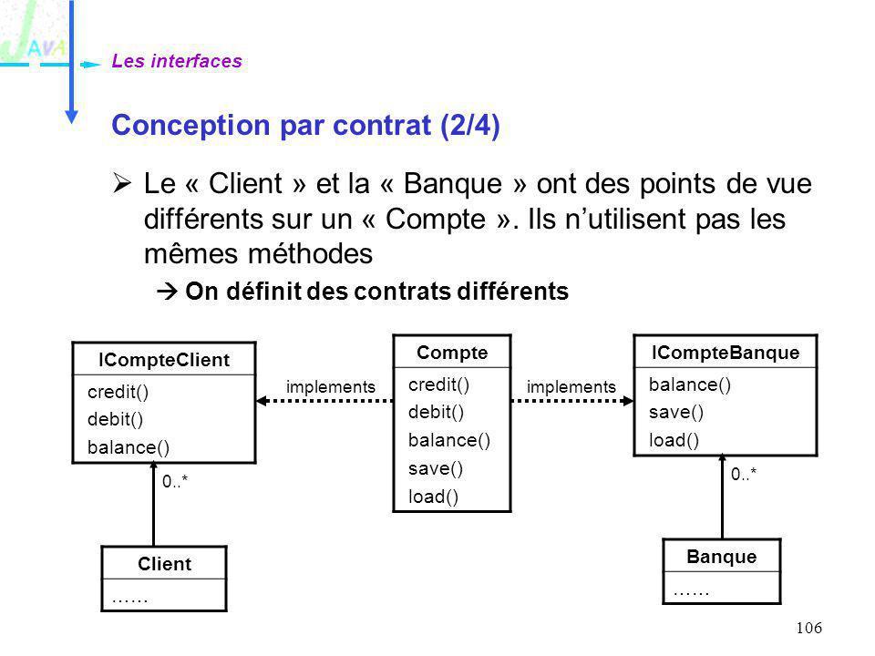 106 Conception par contrat (2/4) Le « Client » et la « Banque » ont des points de vue différents sur un « Compte ». Ils nutilisent pas les mêmes métho