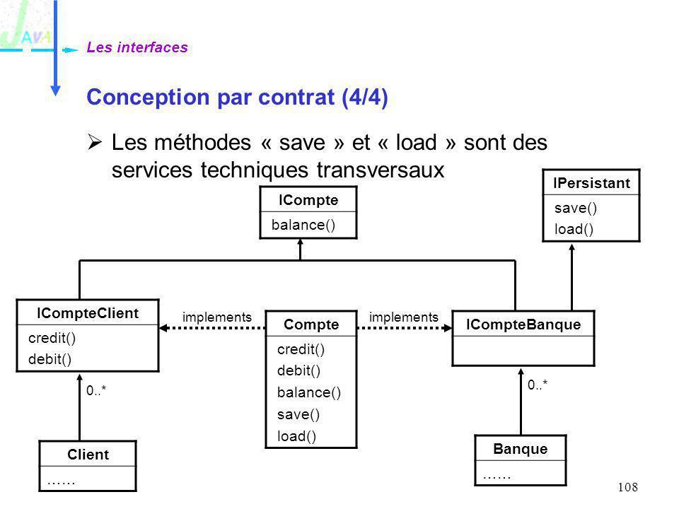 108 Conception par contrat (4/4) Les méthodes « save » et « load » sont des services techniques transversaux Les interfaces Compte credit() debit() ba