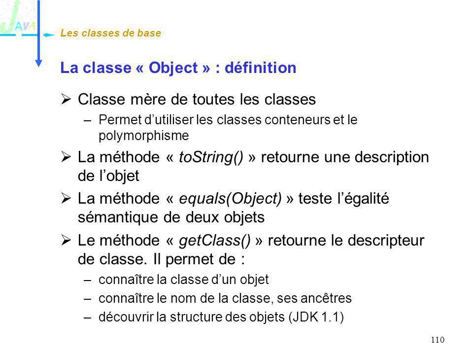 110 La classe « Object » : définition Classe mère de toutes les classes –Permet dutiliser les classes conteneurs et le polymorphisme La méthode « toSt