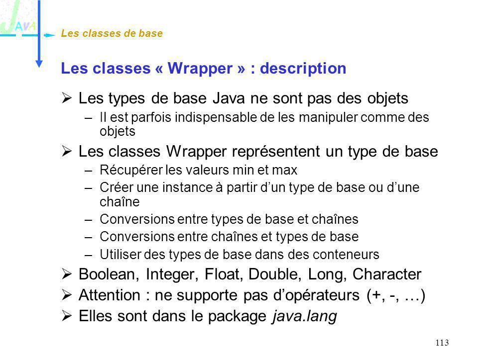 113 Les classes « Wrapper » : description Les types de base Java ne sont pas des objets –Il est parfois indispensable de les manipuler comme des objet