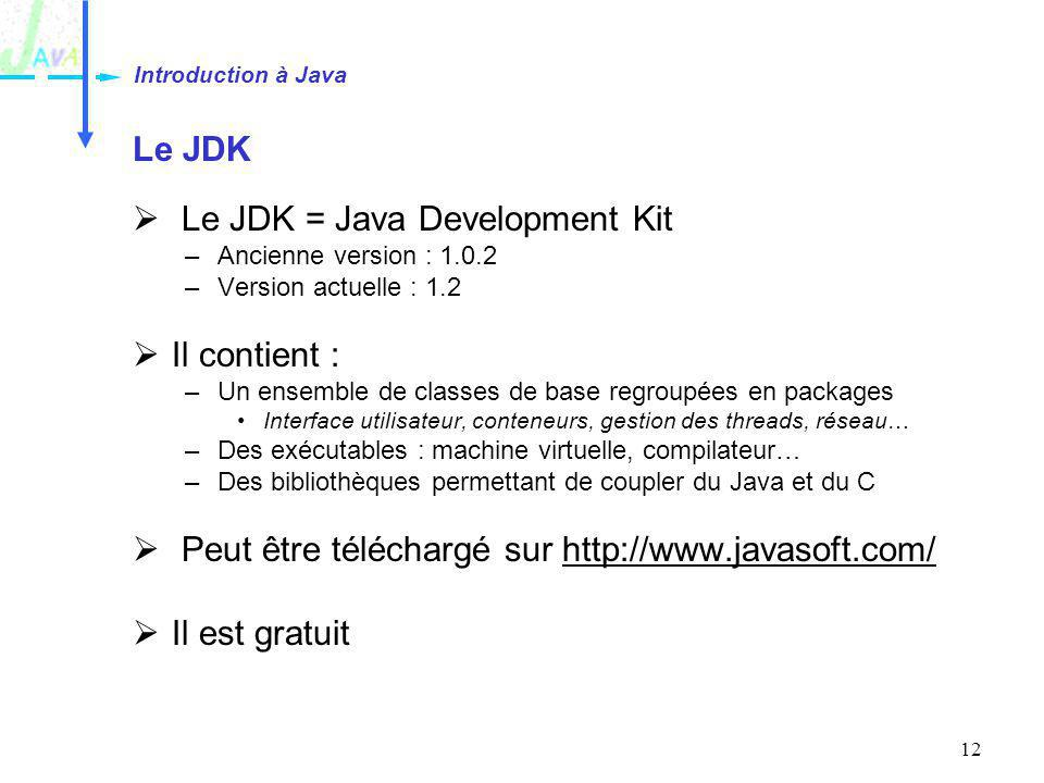 12 Le JDK Le JDK = Java Development Kit –Ancienne version : 1.0.2 –Version actuelle : 1.2 Il contient : –Un ensemble de classes de base regroupées en