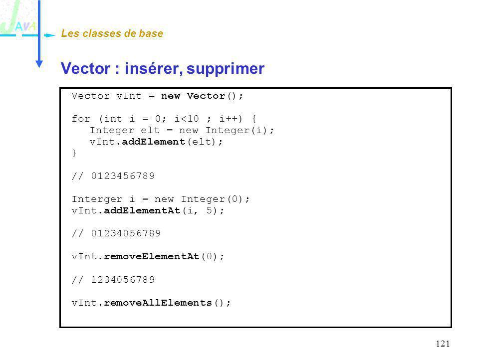 121 Vector : insérer, supprimer Les classes de base Vector vInt = new Vector(); for (int i = 0; i<10 ; i++) { Integer elt = new Integer(i); vInt.addEl
