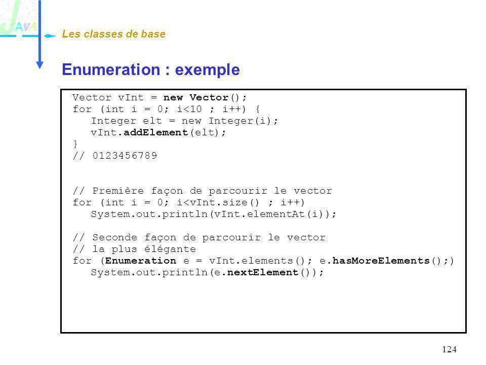 124 Enumeration : exemple Les classes de base Vector vInt = new Vector(); for (int i = 0; i<10 ; i++) { Integer elt = new Integer(i); vInt.addElement(