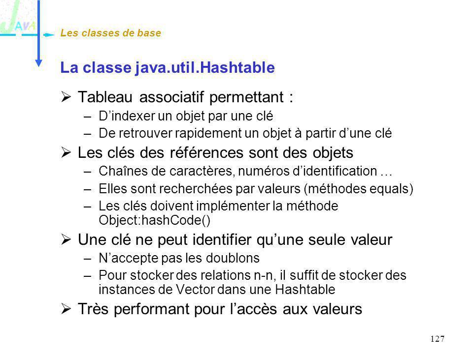 127 La classe java.util.Hashtable Tableau associatif permettant : –Dindexer un objet par une clé –De retrouver rapidement un objet à partir dune clé L