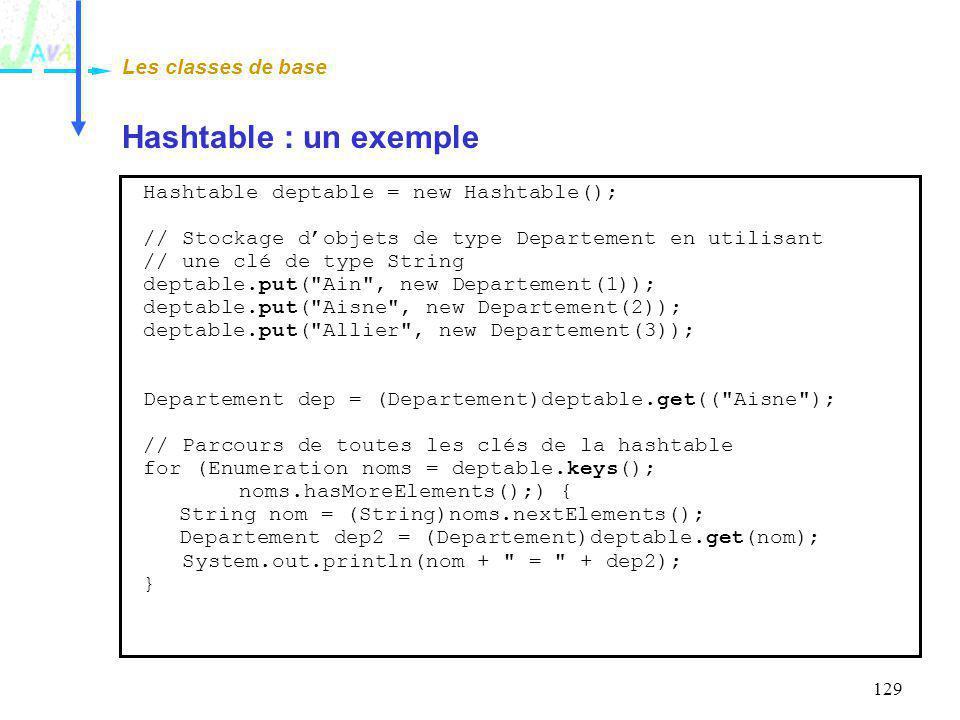 129 Hashtable : un exemple Les classes de base Hashtable deptable = new Hashtable(); // Stockage dobjets de type Departement en utilisant // une clé d