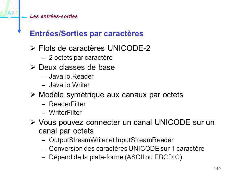145 Entrées/Sorties par caractères Flots de caractères UNICODE-2 –2 octets par caractère Deux classes de base –Java.io.Reader –Java.io.Writer Modèle s