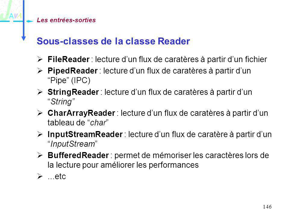 146 Sous-classes de la classe Reader FileReader : lecture dun flux de caratères à partir dun fichier PipedReader : lecture dun flux de caratères à par