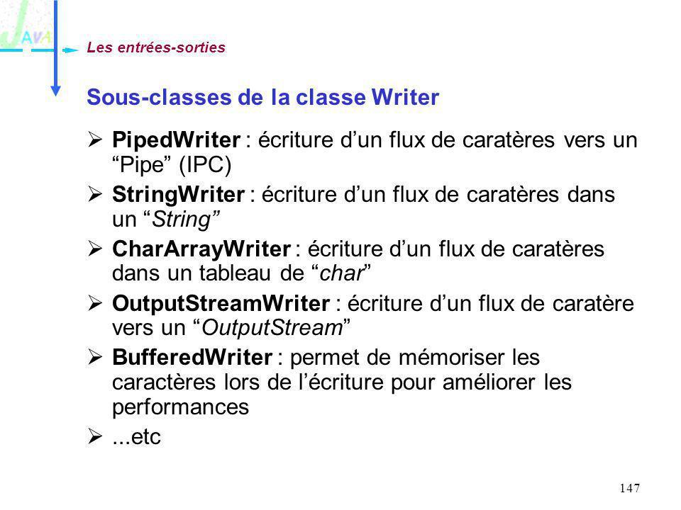 147 Sous-classes de la classe Writer PipedWriter : écriture dun flux de caratères vers un Pipe (IPC) StringWriter : écriture dun flux de caratères dan
