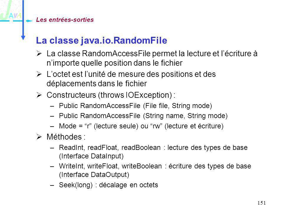 151 La classe java.io.RandomFile La classe RandomAccessFile permet la lecture et lécriture à nimporte quelle position dans le fichier Loctet est lunit