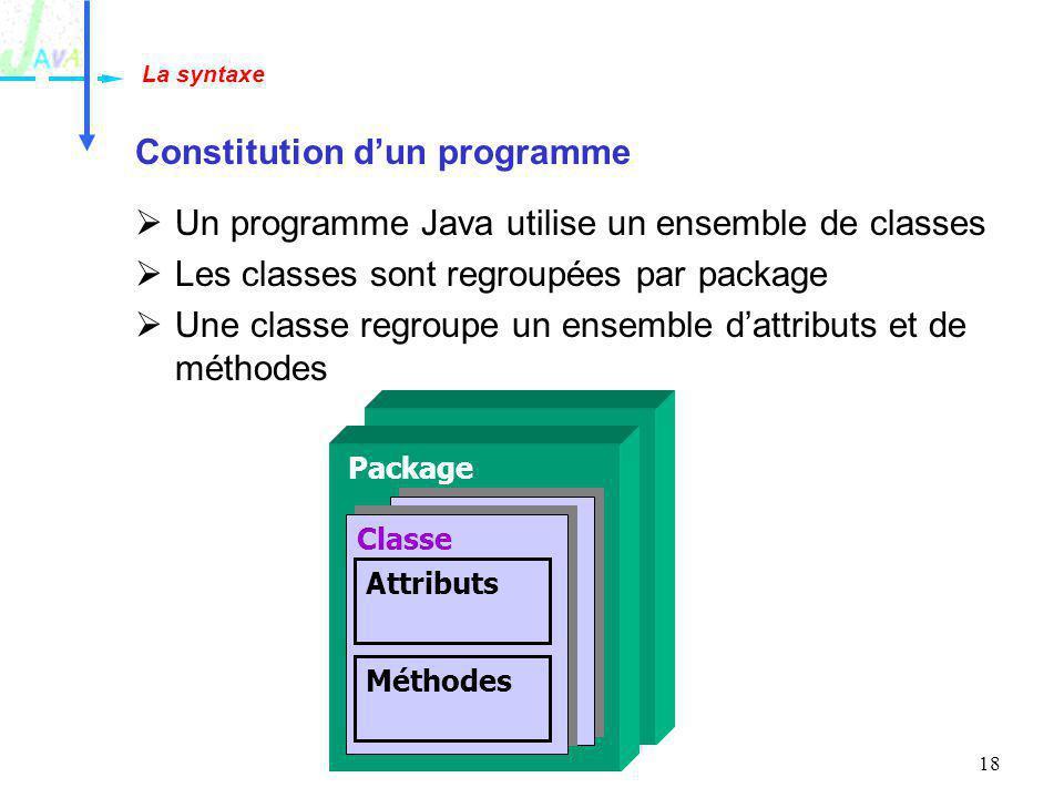 18 La syntaxe Constitution dun programme Un programme Java utilise un ensemble de classes Les classes sont regroupées par package Une classe regroupe