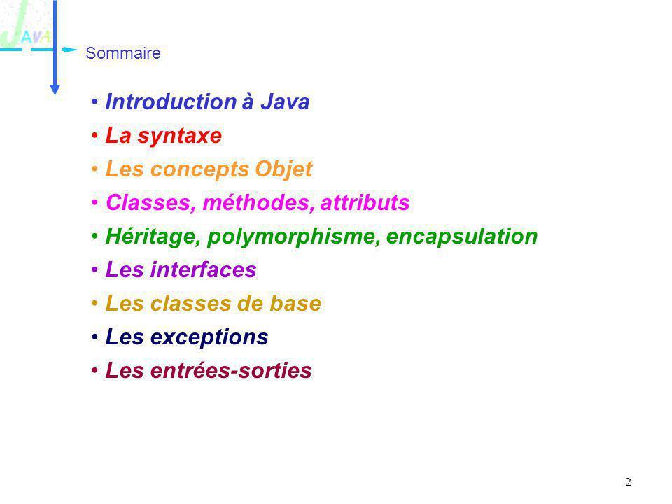 2 Sommaire Introduction à Java La syntaxe Les concepts Objet Classes, méthodes, attributs Héritage, polymorphisme, encapsulation Les interfaces Les cl