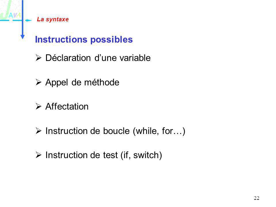 22 Instructions possibles Déclaration dune variable Appel de méthode Affectation Instruction de boucle (while, for…) Instruction de test (if, switch)