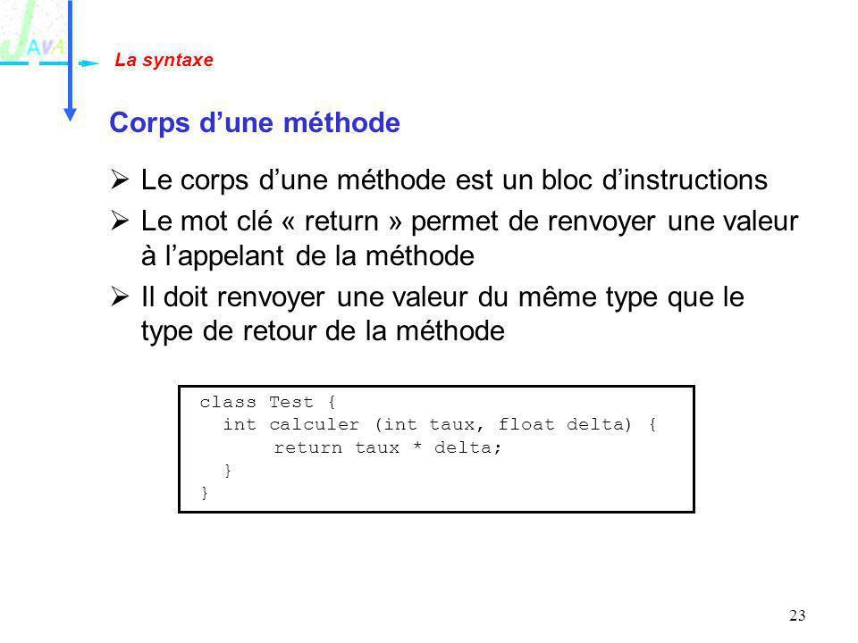 23 Corps dune méthode Le corps dune méthode est un bloc dinstructions Le mot clé « return » permet de renvoyer une valeur à lappelant de la méthode Il