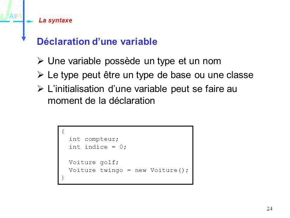 24 Déclaration dune variable Une variable possède un type et un nom Le type peut être un type de base ou une classe Linitialisation dune variable peut