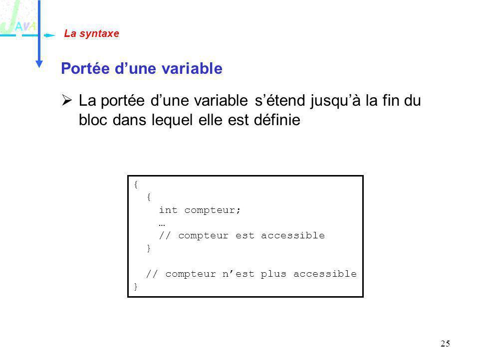 25 Portée dune variable La portée dune variable sétend jusquà la fin du bloc dans lequel elle est définie La syntaxe { int compteur; … // compteur est