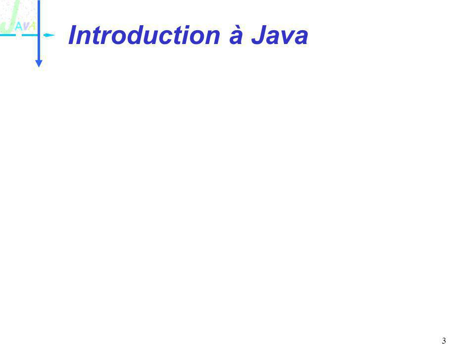 14 Les classes de base AWT : Abstract Window Toolkit –Classes dIHM : boutons, listes, gestion générique de la géométrie, traitement des événements par abonnement, copier/coller, glisser/déplacer Réseau –Sockets (serveurs, clients), Web (URL), Applet… Entrée-sortie –Fichier, Pipe, accès direct… Classes de base –Conteneurs, date, Chaîne de caractéres RMI –R emote Method Invocation –Middleware objet 100 % java Introduction à Java
