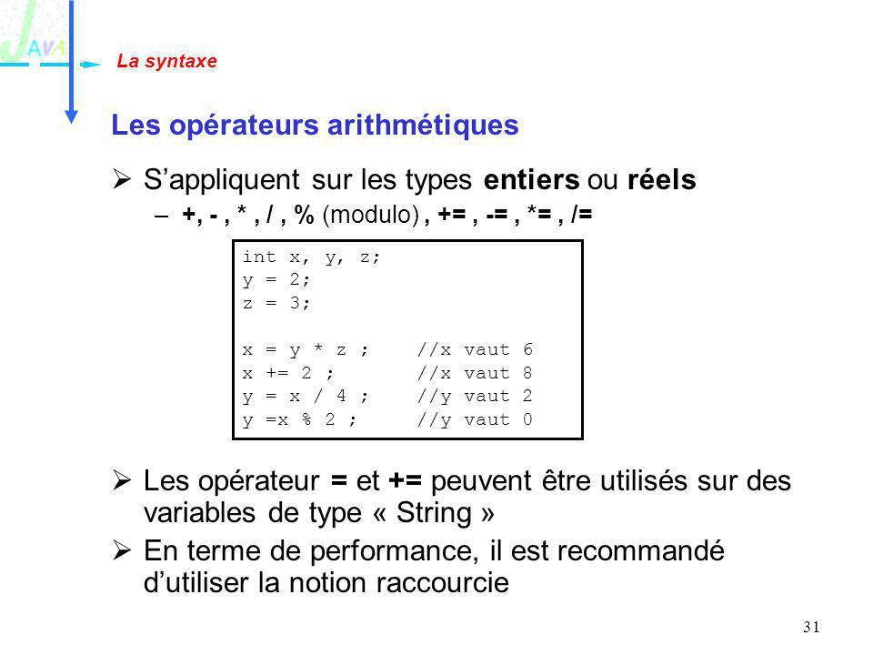 31 Les opérateurs arithmétiques Sappliquent sur les types entiers ou réels –+, -, *, /, % (modulo), +=, -=, *=, /= Les opérateur = et += peuvent être
