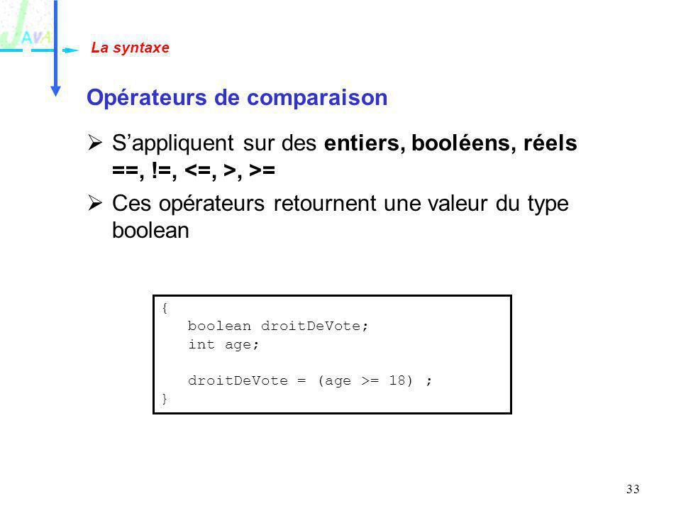 33 Opérateurs de comparaison Sappliquent sur des entiers, booléens, réels ==, !=,, >= Ces opérateurs retournent une valeur du type boolean La syntaxe