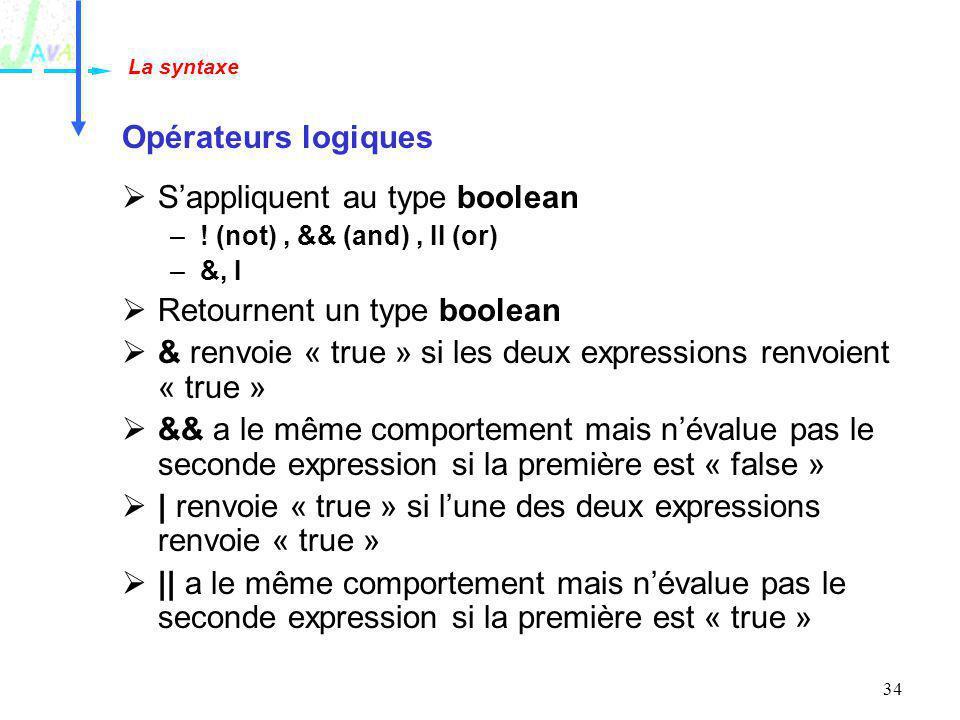 34 Opérateurs logiques Sappliquent au type boolean –! (not), && (and), II (or) –&, I Retournent un type boolean & renvoie « true » si les deux express