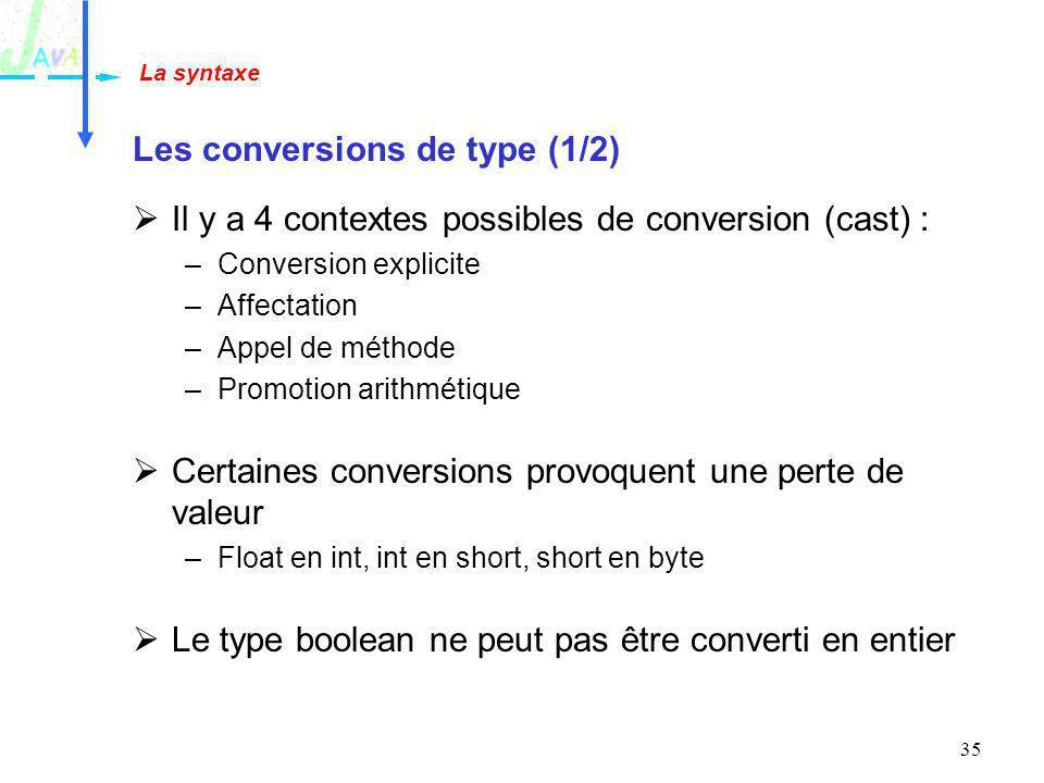 35 Les conversions de type (1/2) Il y a 4 contextes possibles de conversion (cast) : –Conversion explicite –Affectation –Appel de méthode –Promotion a