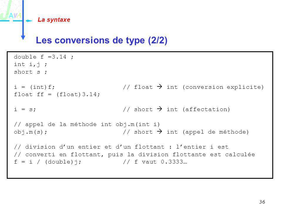 36 Les conversions de type (2/2) La syntaxe double f =3.14 ; int i,j ; short s ; i = (int)f;// float int (conversion explicite) float ff = (float)3.14