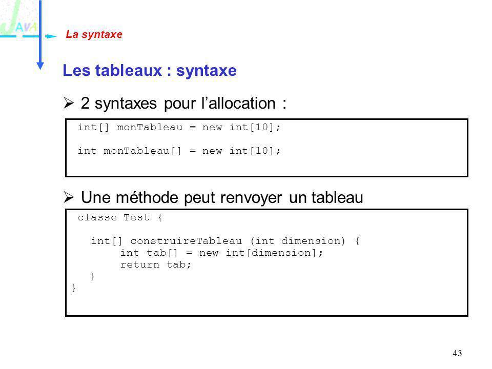 43 Les tableaux : syntaxe 2 syntaxes pour lallocation : Une méthode peut renvoyer un tableau La syntaxe int[] monTableau = new int[10]; int monTableau