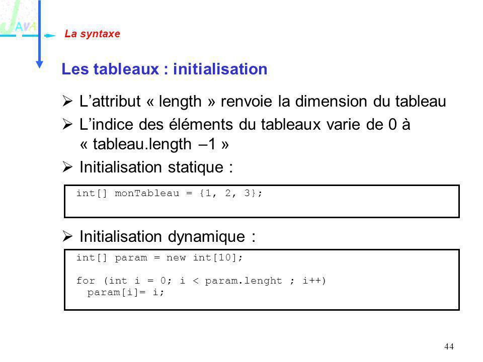 44 Les tableaux : initialisation Lattribut « length » renvoie la dimension du tableau Lindice des éléments du tableaux varie de 0 à « tableau.length –