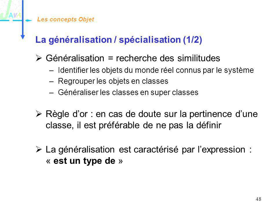 48 La généralisation / spécialisation (1/2) Généralisation = recherche des similitudes –Identifier les objets du monde réel connus par le système –Reg