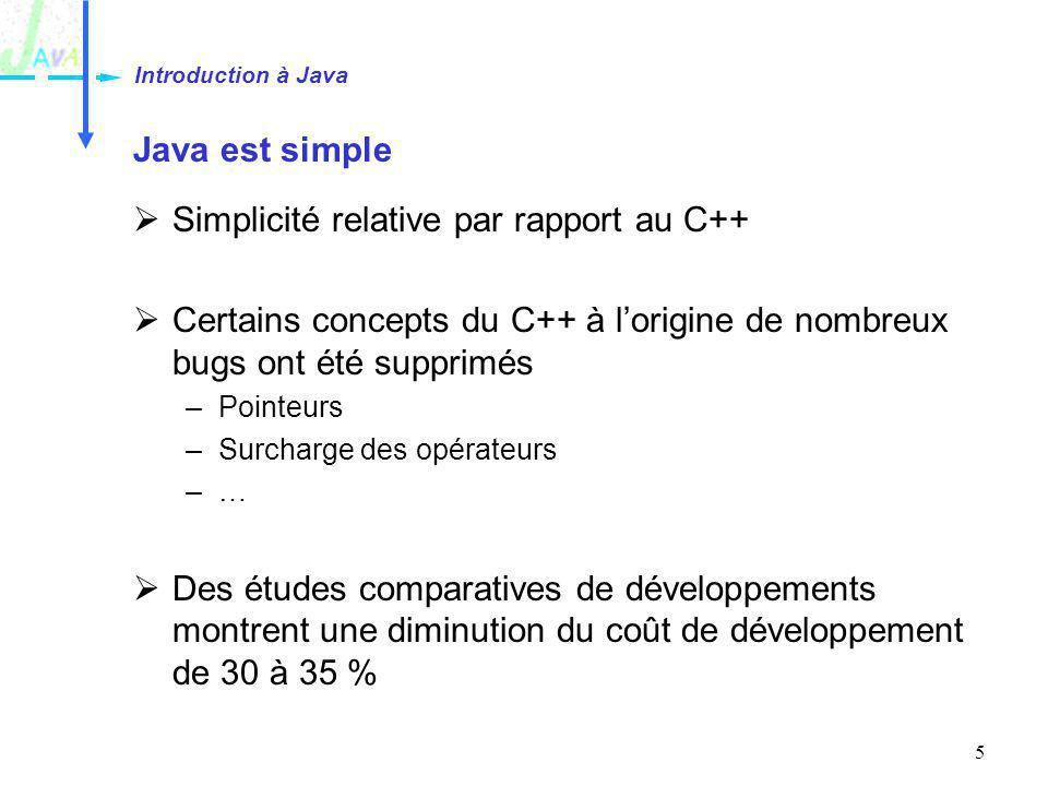 5 Java est simple Simplicité relative par rapport au C++ Certains concepts du C++ à lorigine de nombreux bugs ont été supprimés –Pointeurs –Surcharge