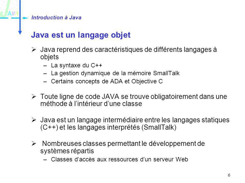 7 Java est robuste Le compilateur Java est très strict Contrôle de typage « fort » Le compilateur vérifie que les erreurs sont traitées par le développeur –Si une erreur retournée par une méthode nest pas traitée, le programme ne compilera pas La gestion de la mémoire nest pas à la charge du développeur –Garbage Collector (« ramasse-miettes) –Pas de pointeurs Un débordement dindex dans un tableau provoque une erreur –La mémoire nest pas écrasée Introduction à Java