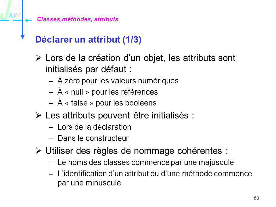 63 Déclarer un attribut (1/3) Lors de la création dun objet, les attributs sont initialisés par défaut : –À zéro pour les valeurs numériques –À « null