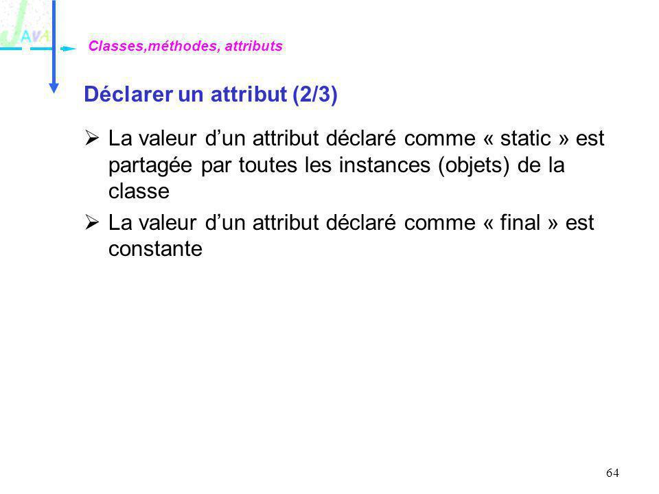64 Déclarer un attribut (2/3) La valeur dun attribut déclaré comme « static » est partagée par toutes les instances (objets) de la classe La valeur du