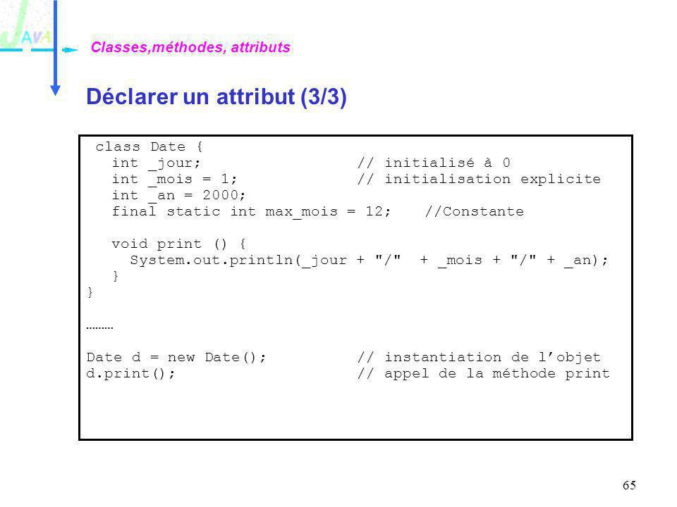 65 Déclarer un attribut (3/3) Classes,méthodes, attributs class Date { int _jour;// initialisé à 0 int _mois = 1;// initialisation explicite int _an =