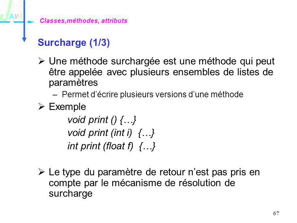 67 Surcharge (1/3) Une méthode surchargée est une méthode qui peut être appelée avec plusieurs ensembles de listes de paramètres –Permet décrire plusi