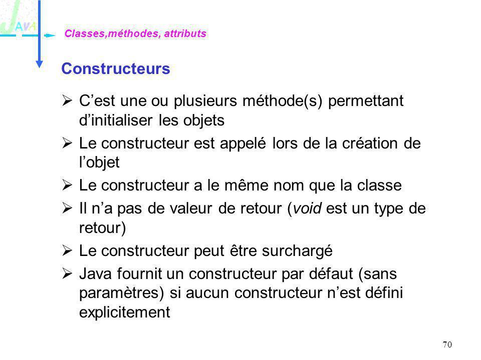 70 Constructeurs Cest une ou plusieurs méthode(s) permettant dinitialiser les objets Le constructeur est appelé lors de la création de lobjet Le const