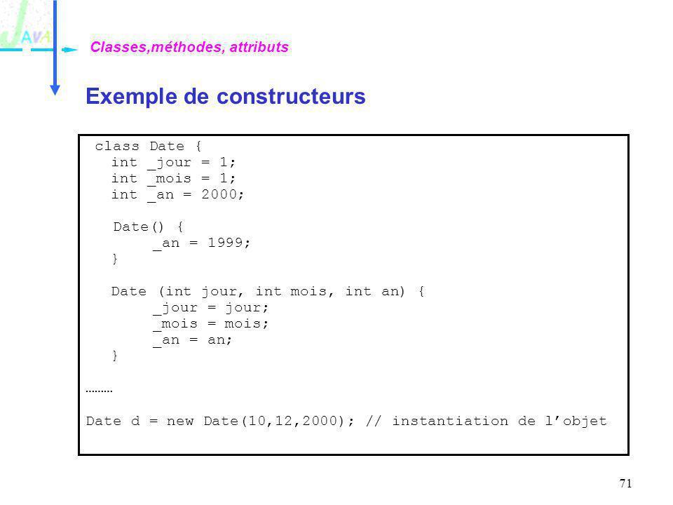 71 Exemple de constructeurs Classes,méthodes, attributs class Date { int _jour = 1; int _mois = 1; int _an = 2000; Date() { _an = 1999; } Date (int jo
