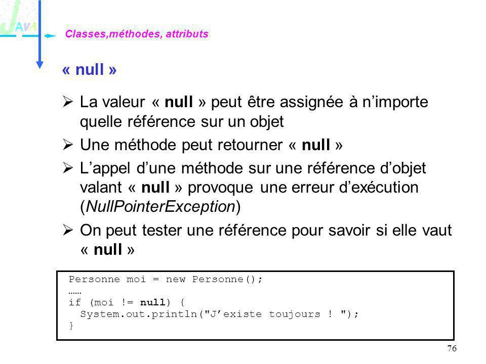 76 « null » La valeur « null » peut être assignée à nimporte quelle référence sur un objet Une méthode peut retourner « null » Lappel dune méthode sur