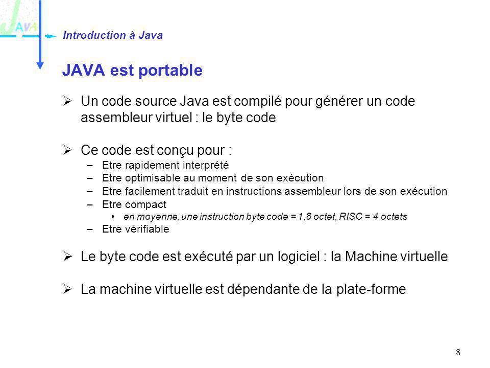 8 JAVA est portable Un code source Java est compilé pour générer un code assembleur virtuel : le byte code Ce code est conçu pour : –Etre rapidement i