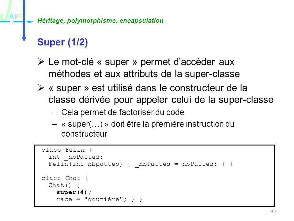 87 Super (1/2) Le mot-clé « super » permet daccèder aux méthodes et aux attributs de la super-classe « super » est utilisé dans le constructeur de la