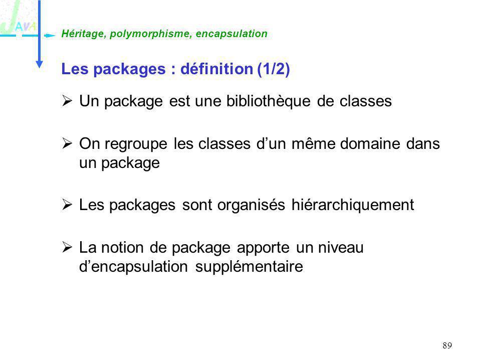 89 Les packages : définition (1/2) Un package est une bibliothèque de classes On regroupe les classes dun même domaine dans un package Les packages so