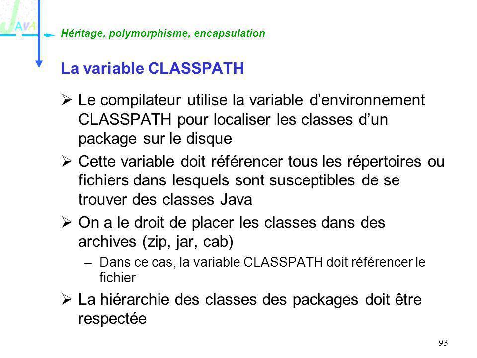 93 La variable CLASSPATH Le compilateur utilise la variable denvironnement CLASSPATH pour localiser les classes dun package sur le disque Cette variab