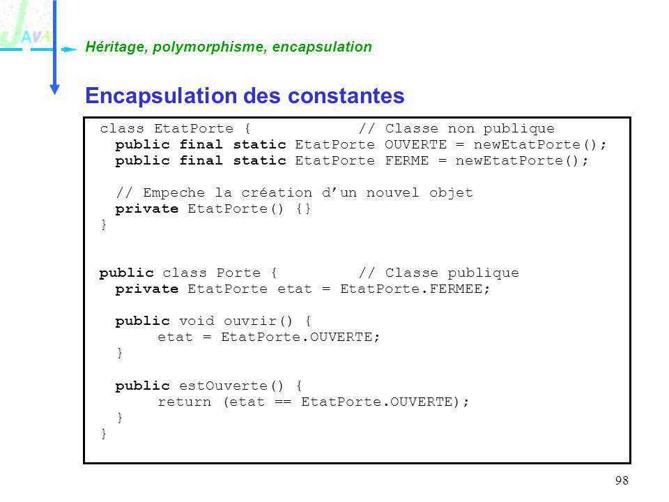 98 Encapsulation des constantes Héritage, polymorphisme, encapsulation class EtatPorte {// Classe non publique public final static EtatPorte OUVERTE =