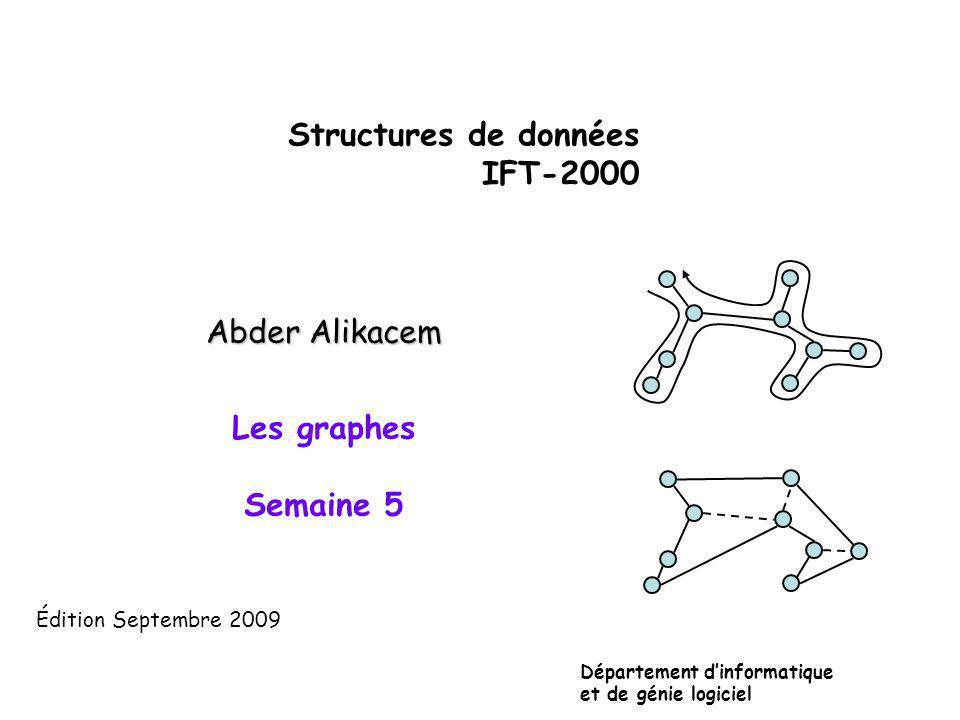 Structures de données IFT-2000 Abder Alikacem Les graphes Semaine 5 Département dinformatique et de génie logiciel Édition Septembre 2009