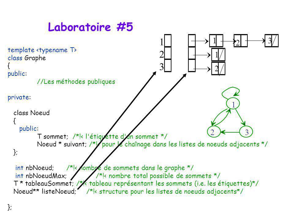 2 3 1 2 3 1 2 3 Laboratoire #5 template class Graphe { public: //Les méthodes publiques private: class Noeud { public: T sommet; /*!< l'étiquette d'un