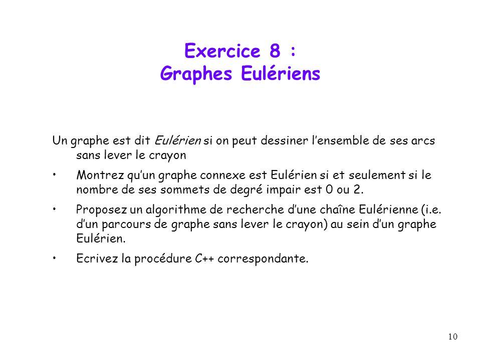 10 Exercice 8 : Graphes Eulériens Un graphe est dit Eulérien si on peut dessiner lensemble de ses arcs sans lever le crayon Montrez quun graphe connex