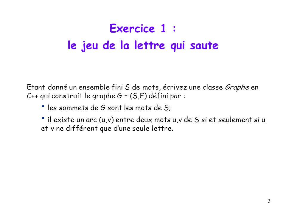 3 Exercice 1 : le jeu de la lettre qui saute Etant donné un ensemble fini S de mots, écrivez une classe Graphe en C++ qui construit le graphe G = (S,F