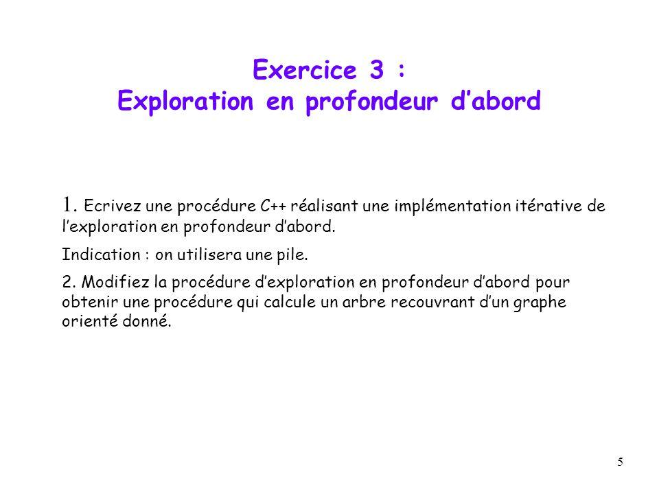 5 Exercice 3 : Exploration en profondeur dabord 1. Ecrivez une procédure C++ réalisant une implémentation itérative de lexploration en profondeur dabo